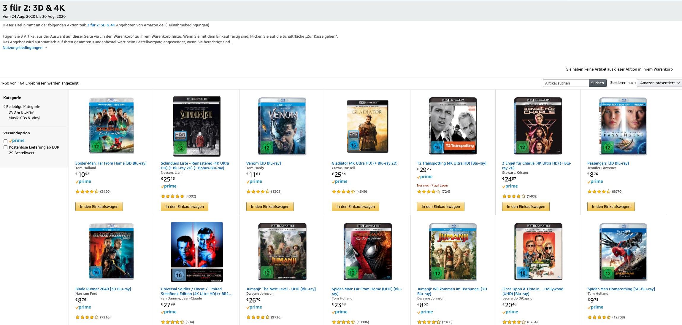 Amazon Blu-ray 3 für 2