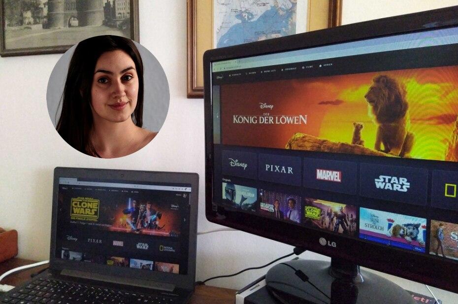 Disney+ Meinung: Ansicht auf zwei Monitoren