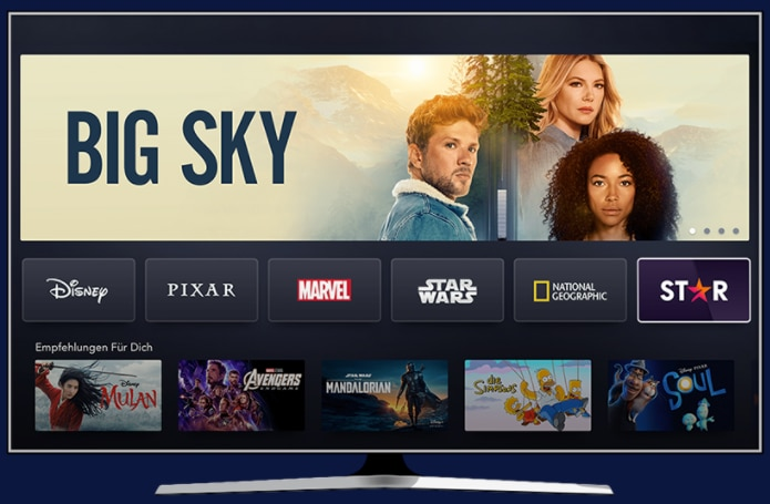 Disney + Star view of the streaming service's home